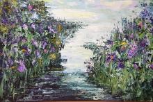 waterkant met irissen